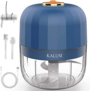 Wireless Electric Mini Food Choppers, KALUSI Small Food Processor Food Slicer And Chopper For Garlic Veggie,Dicing, Mincing & Puree, Fruit Salad,250ML Navy blue