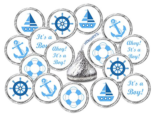 324 Nautical Blue Its a Boy Baby Shower Favors Stickers For Baby Shower Or Baby Sprinkle Party, Baby Shower Kisses Stickers, Baby Shower Blue Favors, Baby Shower Labels, Its a ()