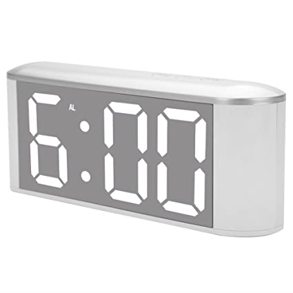 Reloj de Mesa Digital, Superficie de Espejo LED Moderno Termómetro Interior Reloj Despertador con Cable