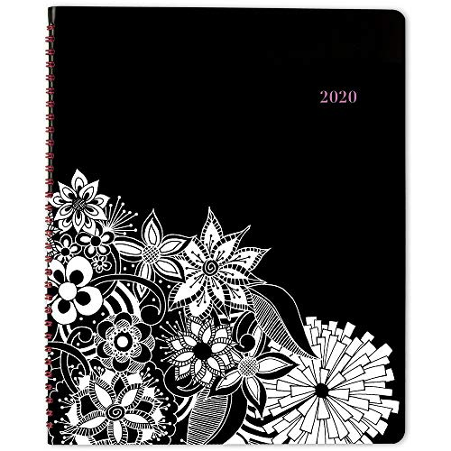 2020 Planner, Cambridge Weekly & Monthly Planner, 8-1/2' x 11', Large, FloraDoodle, Black and White (589-905)