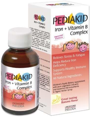 Iron + Vitamin B Complex, Banana Flavour, 4.17 fl oz (125 ml) by Pediakid