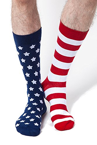 Men's MisMatch Patriotic American Stars & Stripes Red White and Blue Crew Dress Socks