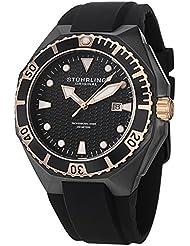Stuhrling Original Mens 823.02 Leisure Gen Hex Analog Display Swiss Quartz Black Watch