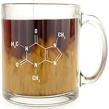 Caffeine Molecule   Glass Coffee Mug   Makes A Great Gift For Science Buffs!