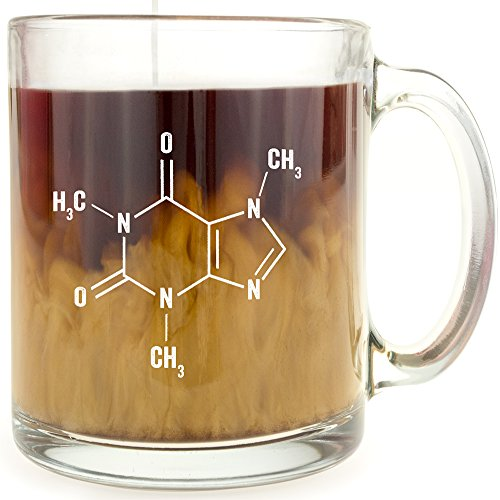 Caffeine Molecule - Glass Coffee Mug - Makes a Great Gift for Science Buffs!