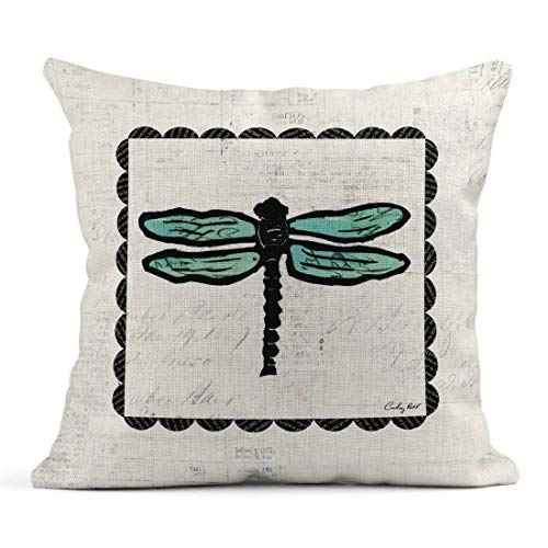 Tarolo Linen Throw Pillow Cover Case Dragonfly Stamp Collage Decorative Pillow Cases Covers Home Decor Square 18 x 18 Inches Pillowcases