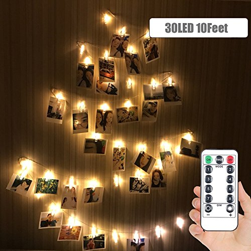 DAOTS 30 LED Photo Clips String Lights with Remote Battery Operated 10ft Fairy Christmas Lights for Hanging Pictures Card, Decorative Lights for Indoor Dorms Wedding Party (Warm White, 8 Modes) (Chasing Clip Light)