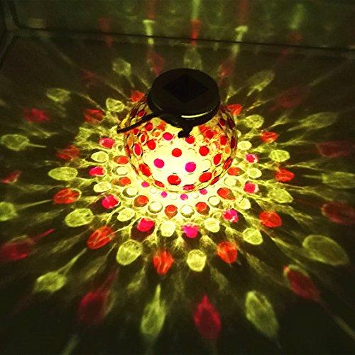 Sogrand Red Diamond Glass JarSolar Lights OutdoorSit on Flat