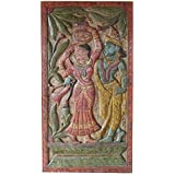 Antique Hand Carved Radha Krishna Divine Love Wall Art Artisan Handcrafted Panel Teak Wood Wall Hanging