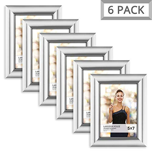 (Langdons 5x7 Picture Frame (6 Pack, Silver), Silver Photo Frame 5 x 7, Wall Mount or Table Top, Set Of 6 Celebration Collection)
