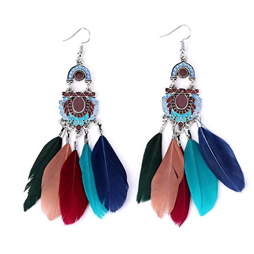 slowsilent 1 Pair Vintage Bohemian Feather Tassel Dangle Earrings Handmade Jewelry Gift for Women Lady Girls (Colorful) ()