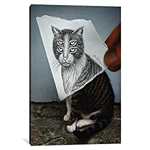 "iCanvasART 1-Piece Pencil Vs Camera 6-4 Eyes Cat Canvas Print by Ben Heine, 26"" x 18""/0.75"" Deep"