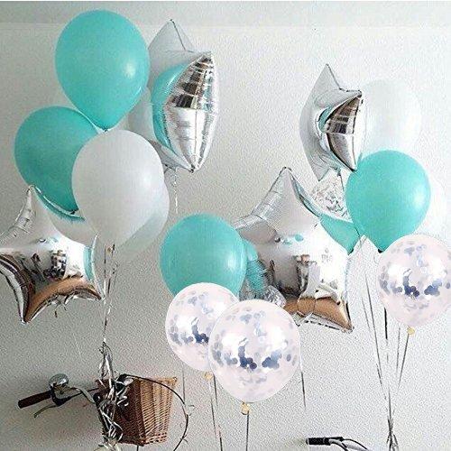 Pack of 16 pcs 18 Inch Sliver star foil balloons Tiffan Blue transparent confetti Latex helium Ballloons for Wedding Birthday decor supplies Baby Shower