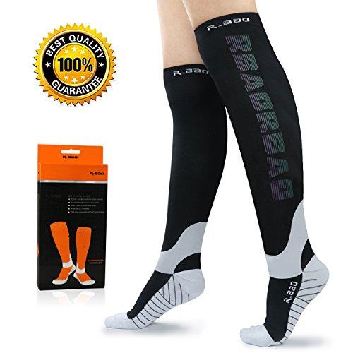 Compression Socks for Men & Women 1 Pair Graduated Reflective Support Socks 20-30 mmhg for Night Running Nurse Crossfit Travel Flight Maternity Pregnancy athletics (S/M (US Women 4-10 / US Men 5-9))