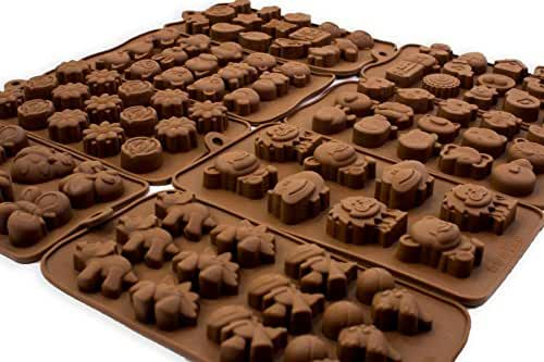 Silicone Candy Mold Ice Cube Trays, Animals & Flowers, 8 Pack Set
