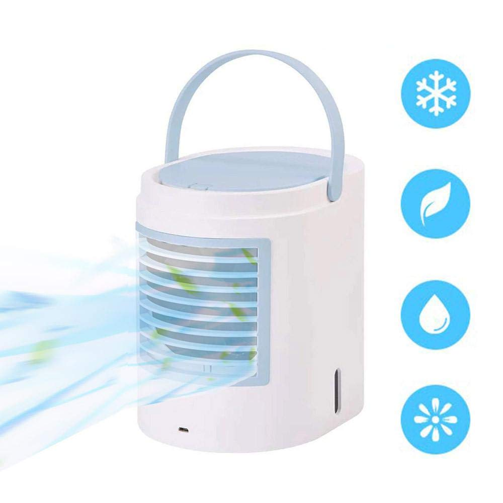 Mini Air Conditioner Portable Hanging Ice Air Cooler 3 Speeds 7 Colours LED Quiet 3-in-1 Evaporative Humidifier Purifier Hanging Air Space Cooler For Tent Home Office Travel