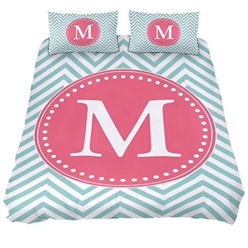 LORVIES Chevron Style Monogram Duvet Cover Set, 3 Piece - Microfiber Comforter Quilt Bedding Cover with Zipper, Ties, Decorative Bedding Sets with Pillow Shams for Men Women Boys Girls Kids Teens