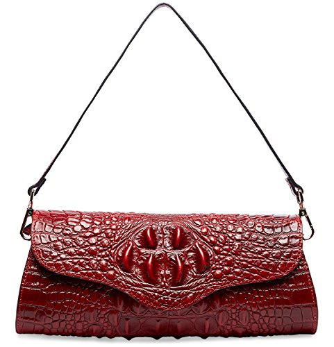 Pifuren Alligator Crocodile Embossed Genuine Leather Womens Clutch Purse M1113 (Red)