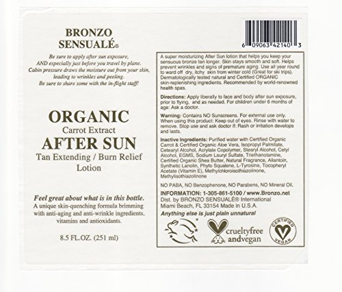 Bronzo Sensualé After Sun and Sun Tan Extender Carrot Lotion 8.5 Ounces by BRONZO SENSUALE (Image #6)
