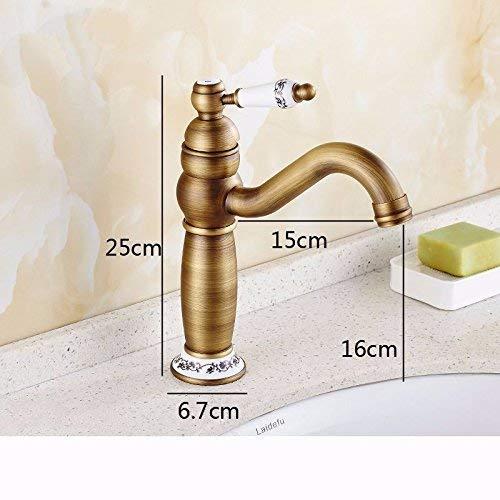 JingJingnet 洗面器ミキサータップ浴室のシンクの蛇口アンティーク真鍮セラミックバルブシングルハンドルワンホールホットとコールドミキシングバルブ浴室の洗面器を回転させる (Color : 2) B07S2P85PM 2