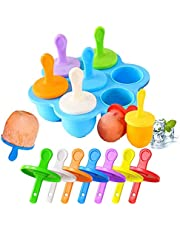 KSPOWWIN Mini Popsicle Molds Silicone Popsicle Maker with Colorful Plastic Sticks, 7 DIY Ice Pop Mold for Egg Bites, Lollipop and Ice Cream Mould, Baby Food Storage Container, Non-Stick Ice Cube Trays