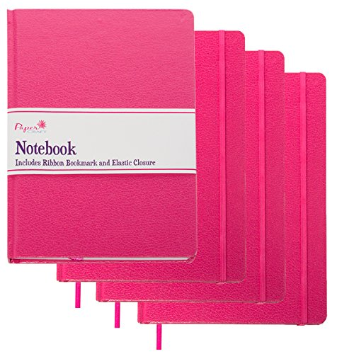 Paper Craft (4 Pack) 8.5 x 5.5 Leatherette Lined Writing Journals Wide Ruled Banded Notebook with Ribbon Bookmark, Pink (a5 Size) (On Writing A Memoir Of The Craft Audiobook)