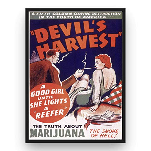 Mile High Media Marijuana Propaganda Poster Devil's Harvest - The Smoke of Hell - 13x19 Inch Wall Art -