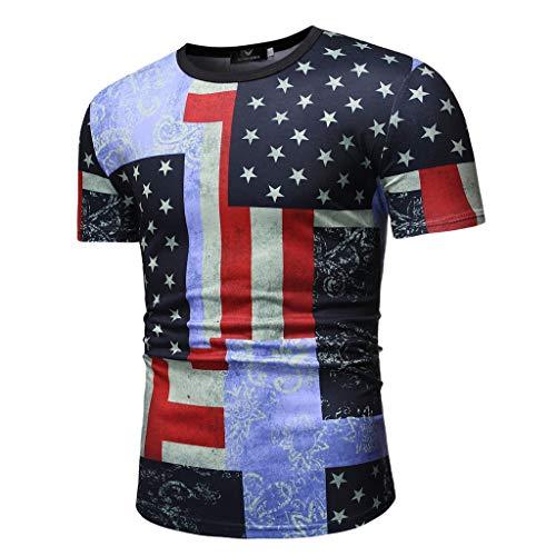 Mens Summer t Shirts Short Sleeve,Tronet Men's Casual Print Slim Fit Tee Round Neck Short Sleeve Top Shirt - Oxfords T-shirt Print