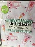 Dot and Dash Piggy Sweet Ice Cream White Pink Pig Print - 3 Piece Twin Sheet Set