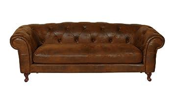 Chesterfield - ROM 3 plazas marrón textilleder sofá Outlet ...