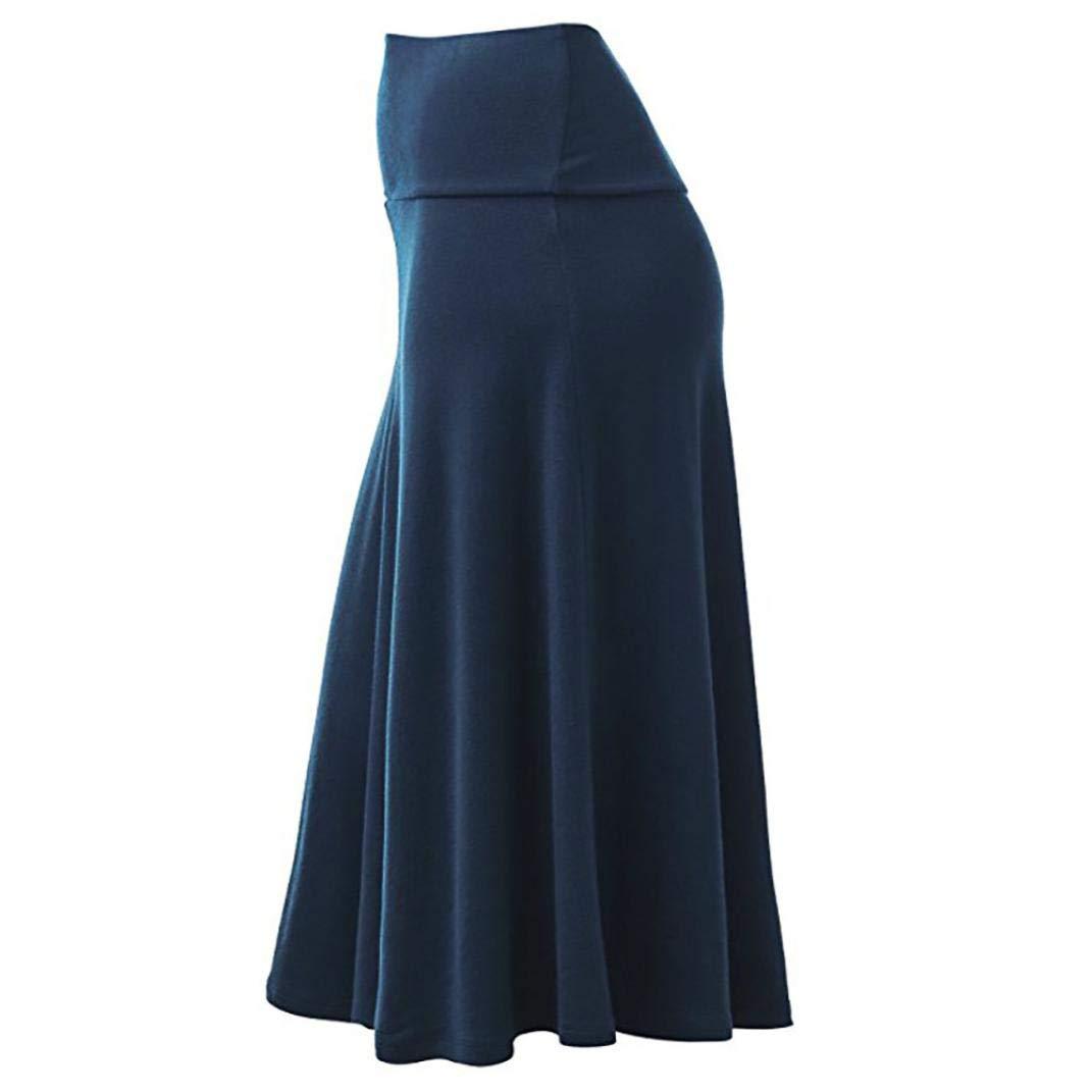 Jinjin Womens Skirt - High Waist Uniform Pleated Solid Midi Skirt with Flare Hem (Blue, XXXL) by Jinjin (Image #3)