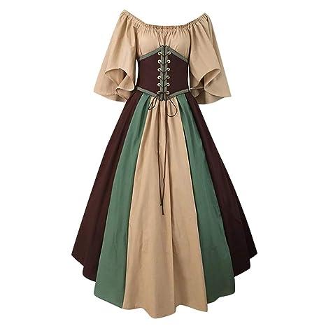 Damen Mittelalter Kleid Gewand Gothic Freizeitkleid Königin Kostüme Renaissance Medieval Princess Dress Erwachsene Cosplay Karneval Fasching Halloween