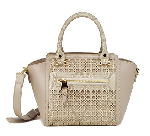 sr-squared-by-sondra-roberts-perforated-snake-saffiano-mini-satchel-natural-taupe