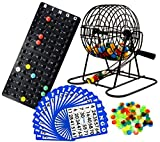 Regal Games Deluxe Bingo Cage Game Set - 8 Inch Metal Cage with Plastic Masterboard, 75 Multi-Color Bingo Balls, Bingo Cards and Bingo Chips