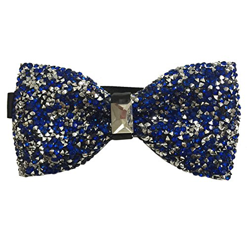 AINOW Mens Crystal Shining Luxury Pre-Tied Bow Tie Rhinestone Bowties (Blue) -