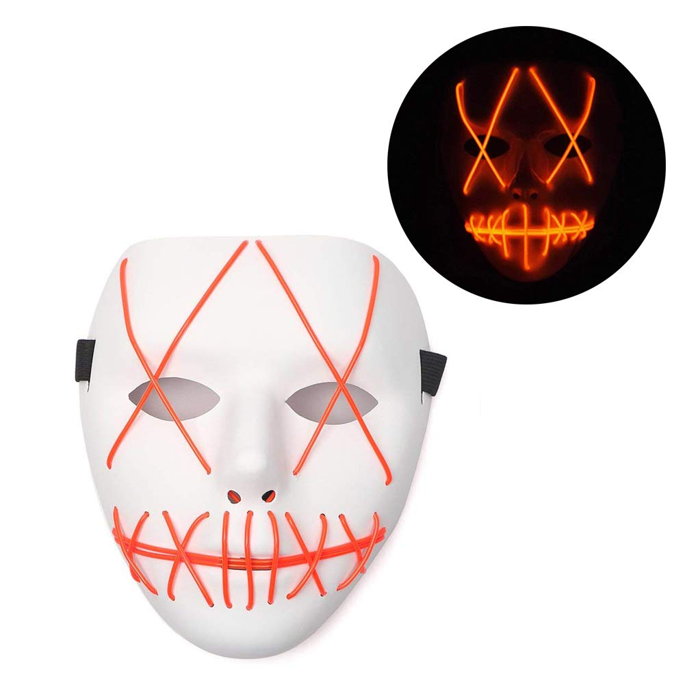 Vos Risus Frightening Halloween Cosplay LED Light up Purge Mask for Festival Party Halloween Costumes