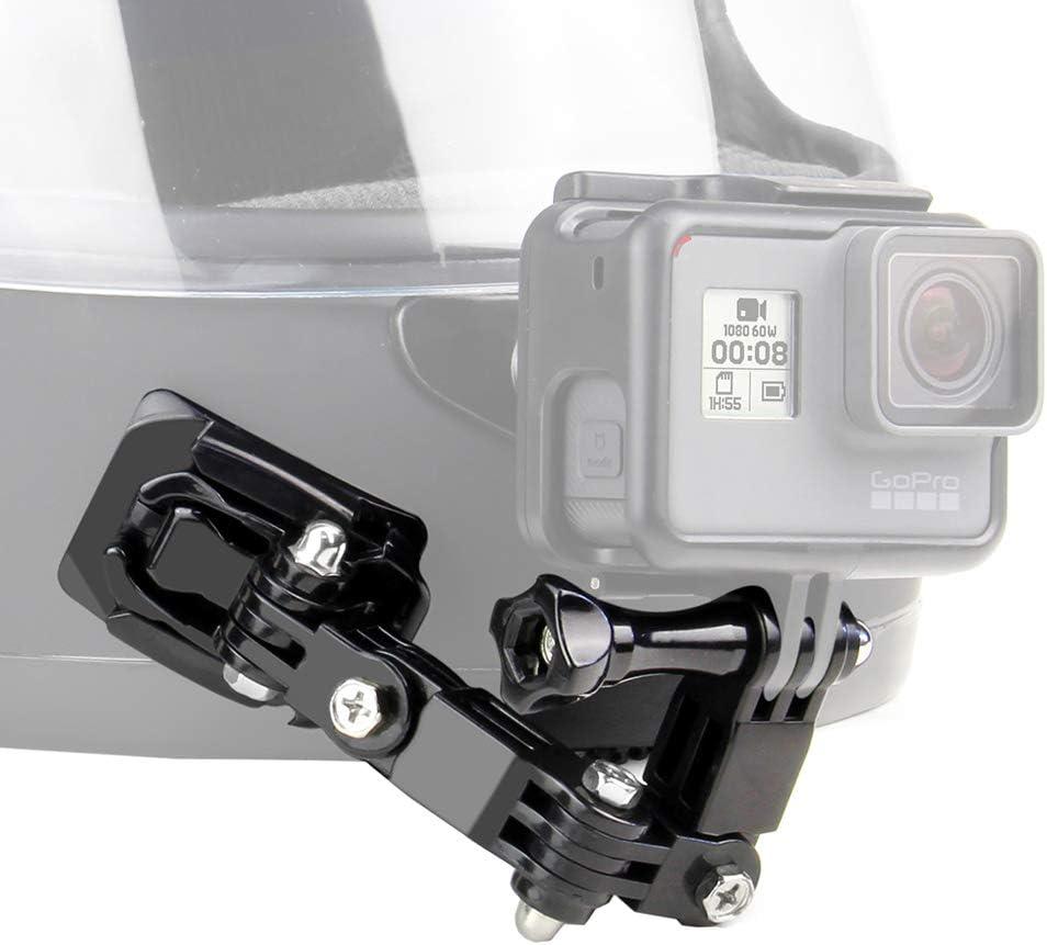 مجموعة تثبيت الذقن لخوذة الدراجة النارية من SOONSUN لجو برو هيرو 8 7 6 5 4 جلسات البطل، أكاسو، SJCAM، كاميرا يي أكشن - تتضمن وسائد لاصقة منحنية مسطحة للتعليق على خطاف J-من J