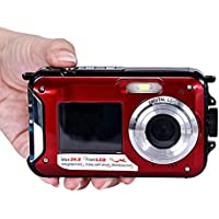 Kwok Double Screen Waterproof Camera 24MP 16x Digital Zoom Dive Camera (Kwok Photography series) (Red)