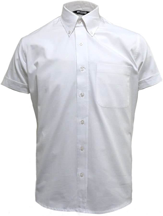 1960s Mens Shirts | 60s Mod Shirts, Hippie Shirts Relco White Oxford Retro Button Down Short Sleeve Shirt £31.99 AT vintagedancer.com