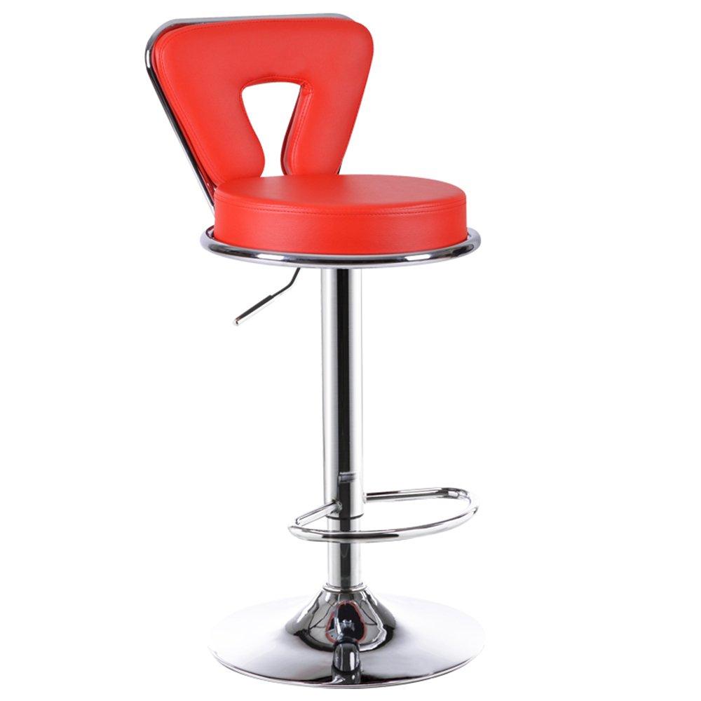 XIAOYAN バースツールPU +メッキメタル+高レジリエンススポンジ現代的な実用的なオフィスチェアファッション家庭用ハイスツールフロントベンチリフト可能黒白回転ベージュ黄色緑赤紫オレンジ (色 : 赤) B07DNMLCMM 赤 赤