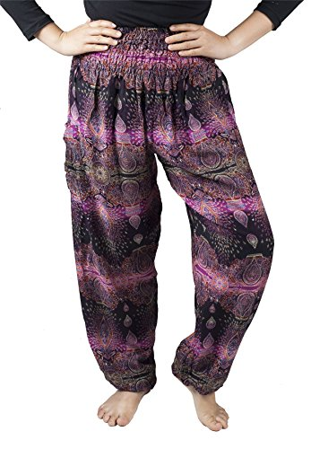 Lofbaz Women's Colourful Floral Smocked Waist Harem Pants Oval Purple Size -