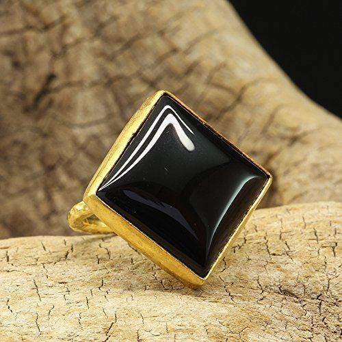 (Natural Black Onyx Ring 925 Sterling Silver 24K Gold Vermeil Handcrafted Hammered Designer Roman Art Cabochon Gemstone Large Right Hand Ring)