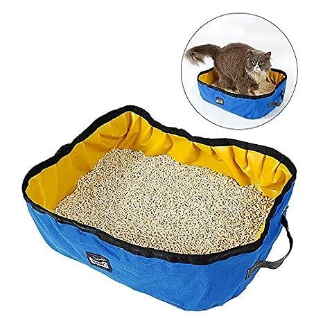 MIRAMAR Caja de Arena Plegable para Gatos, Impermeable Portable y Lavable 46*35*