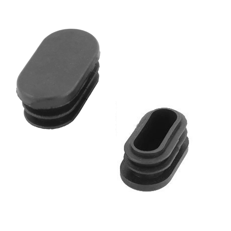 Negro YouU 25 Piezas Pl/ástico Oficina Oval Silla Pierna Pie Cubierta Tubo Insertar 28 x 14mm