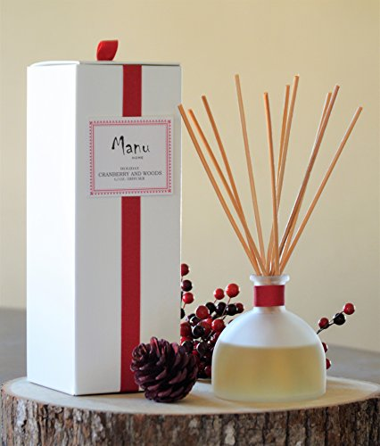 Woods Reed Diffuser Set~ Made with Aromatherapy Oils in a Beautiful reusable frosted bottle~ 6.5 oz! Made in the USA! (Cranberry Reed Diffuser)