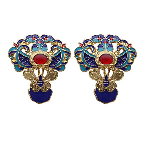 Homyl 2 Pieces Beautiful Jewelry Fashion 36 x 40 mm Multi color Alloy Cloisonne Flower Pendant Beads DIY Jewellery Making Supplies - - Flower Beads Cloisonne