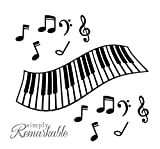 Vinyl Decal Sticker for Computer Wall Car Mac Macbook and More - Piano Keyboard and Notes