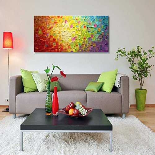 Seekland Art Large Handmade Textured Oil Painting on Canvas Abstract Wall Art Picture for Home Decoration Artwork Unframe 80''W x 40''H by Seekland Art