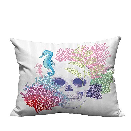 YouXianHome Zippered Pillow Covers Halloween Skull Skelet Head with Coral Reef Dead Aquarium Pirate Wildlife Decorative Couch(Double-Sided Printing) 19.5x30 inch ()