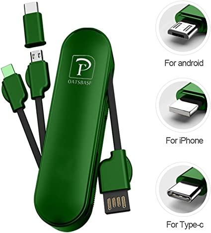 codes promo guetter en ligne Multi Charging Cable,3 in 1 iOS/Micro USB/Type-C Portable Charging Cable  Short 10cm with Phone Holder for Most Smart Phones (Green)